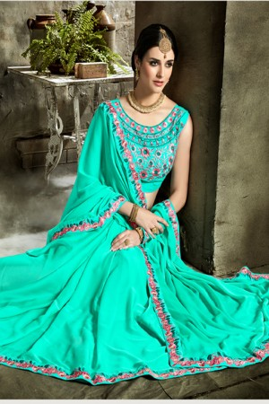 Stylish Green Fancy Fabric Embroidered  Blouse Saree