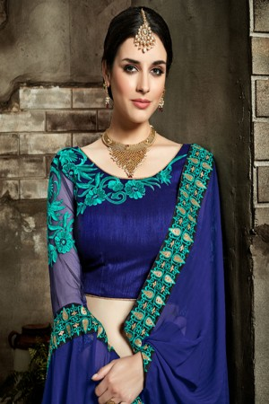 Fab Blue Fancy Fabric Embroidered  Blouse Saree