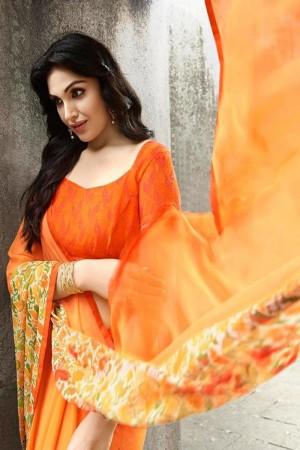 Splendiferous Light_orange Georgette Printed With Lace Border Saree