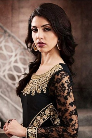 Brilliant Black Silk Thread & Zari Embroidery with Diamond Work  Anarkali Suit