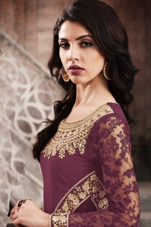 Enticing Light_wine Silk Thread & Zari Embroidery with Diamond Work  Anarkali Suit