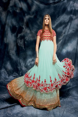 Dusty Blue Heavy Embroiderd Zari and Mirror Work with Heavy Lace Border