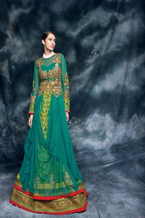 Rama Lime Yellow Heavy Embroiderd Zari and squance Work with Heavy Lace Border