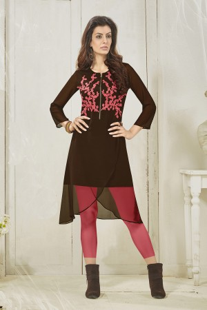Brown Georgette  Heavy Embroidered Pattern Work and lining with Polyster Santoon Kurti