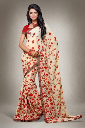 Cream Georgette Floral Print with Lace Border Saree