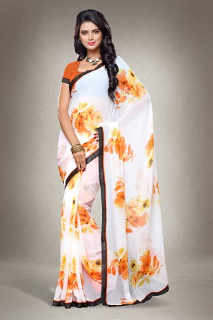 White Georgette Floral Print with Lace Border Saree