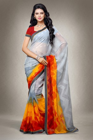 Grey Georgette Print with Lace Border Saree