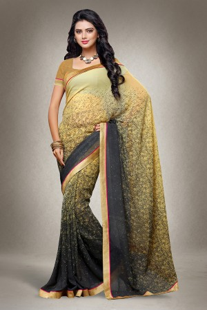 Golden Georgette Floral Print with Lace Border Saree