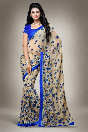 Chiku Georgette Floral Print with Lace Border Saree