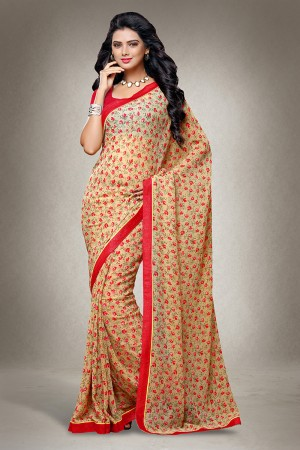 Chikoo Georgette Floral Print with Lace Border Saree