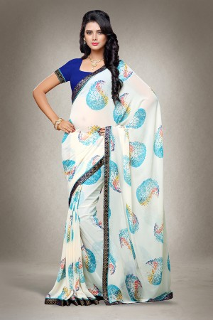 White Georgette Print with Lace Border Saree