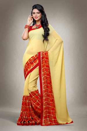 Yellow Georgette Print with Lace Border Saree