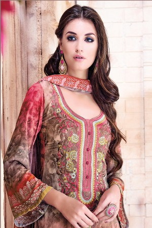 Multi Georgette Digital Print with Nack Border Embroidery Dress Material