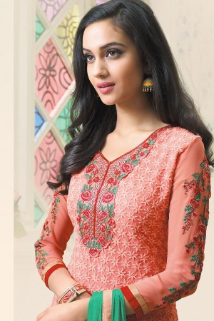 Saloman Georgette Heavy Embroidery Work on neckline and sleeve with embroidered lace border Salwar Kameez