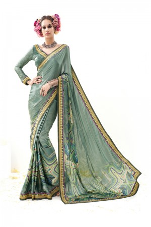 Green Pure Silk Print Work with Embroidered Lace Border Saree with Blouse