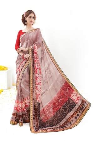 Peach Silk Georgette Print Work with Embroidered Lace Border Saree with Blouse