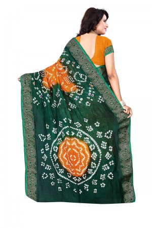 Green & Mustard Cotton Silk Bandhani Saree
