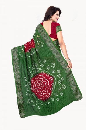 Mehandi & Maroon Cotton Silk Bandhani Saree