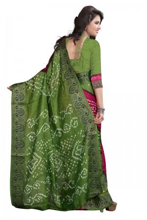 Green & Pink Cotton Silk Bandhani Saree