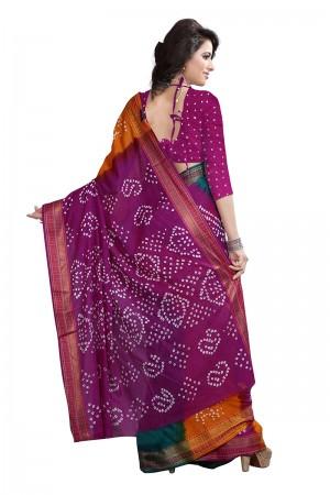 Multi Color Pure Cotton Bandhani Saree