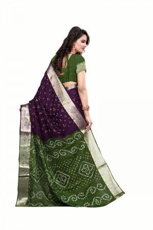 Green & Purple Cotton Silk Bandhani Saree