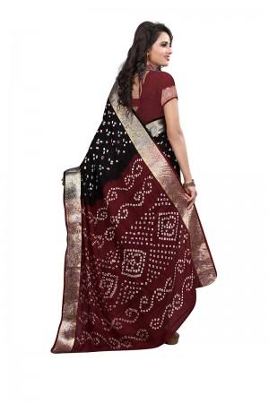 Black & Red Cotton Silk Bandhani Saree