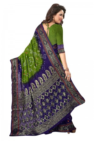 Sparkling Green & Blue Cotton Silk Bandhani Saree