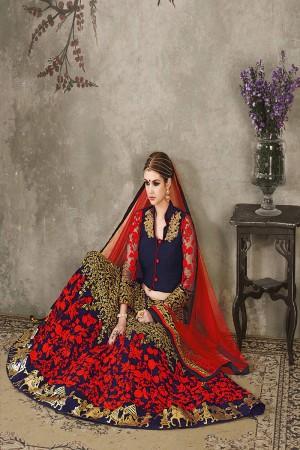 Blue Silk Georgette Designer Heavy Embroidery Work Lehenga Choli