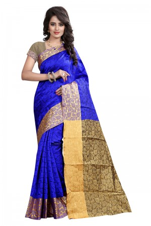 Graceful Blue Cotton Jacquard Saree