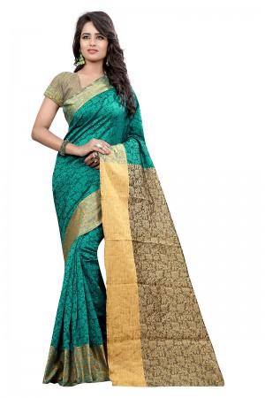 Bewitching Rama Cotton Jacquard Saree