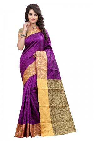 Beautiful Magenta Cotton Jacquard Saree