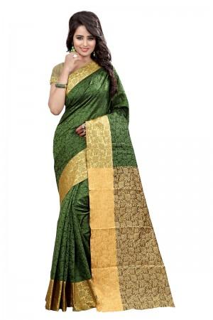 Modish Mehandi Cotton Jacquard Saree