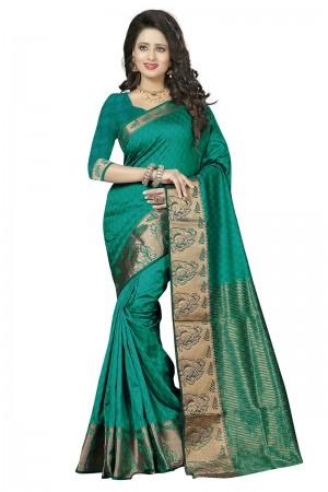Bedazzling Rama Cotton Jacquard Saree
