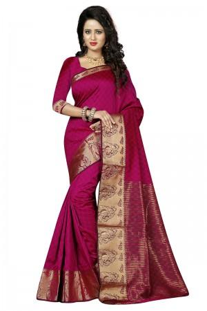 Gorgeous Pink Cotton Jacquard Saree