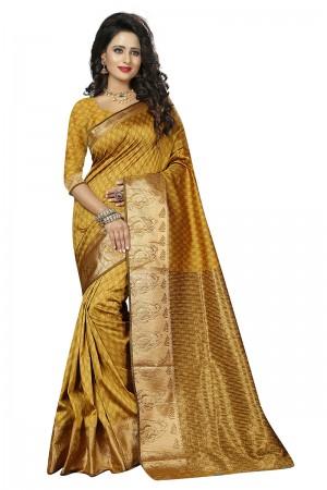 Splendiferous Yellow Cotton Jacquard Saree