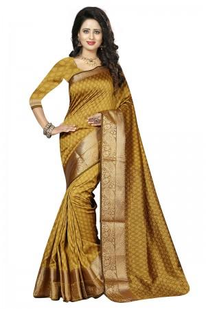 Fabulous Yellow Cotton Jacquard Saree