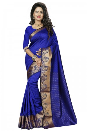 Enthralling Blue Cotton Jacquard Saree