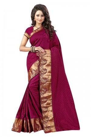 Stunning Maroon Cotton Jacquard Saree