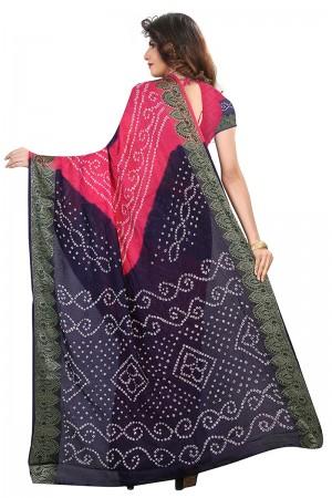 Engrossing Blue & Pink Cotton Silk Bandhani Saree