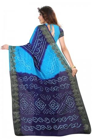 Astounding Blue & Firozi Cotton Silk Bandhani Saree