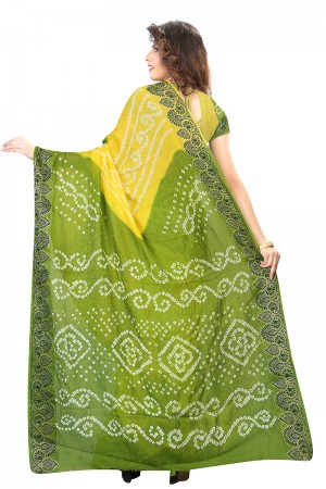 Ravishing Mahendi & Yellow Cotton Silk Bandhani Saree