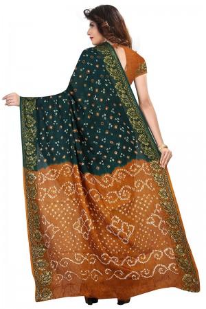 Divine Mustard & Green Cotton Silk Bandhani Saree