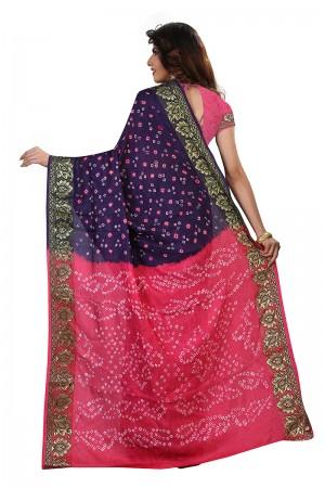 Classic Pink & Blue Cotton Silk Bandhani Saree