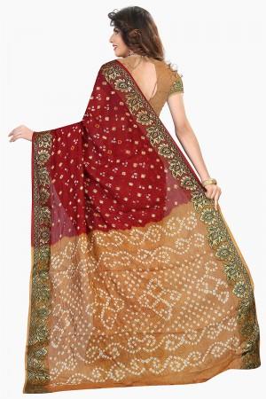 Classy Beige & Maroon Cotton Silk Bandhani Saree