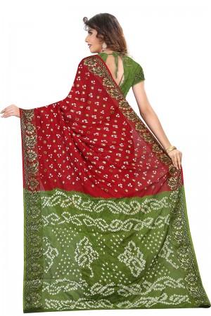 Desirable Maroon & Mahendi Cotton Silk Bandhani Saree