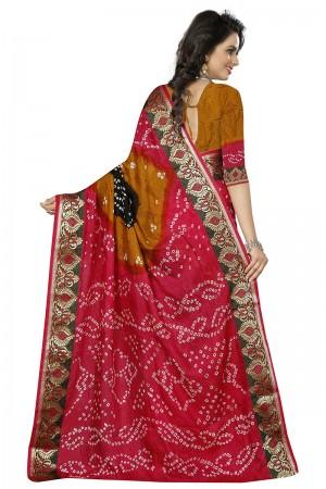 Enriching Pink & Mustard Cotton Silk Bandhani Saree