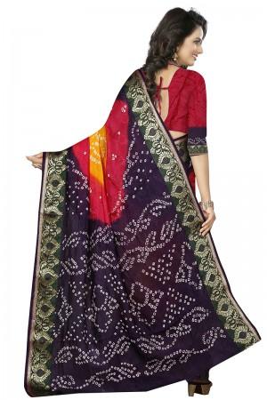 Fantastic Blue & Pink Cotton Silk Bandhani Saree