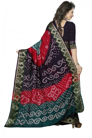 Sensuous Multi Colour Cotton Silk Bandhani Saree