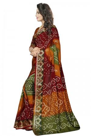 Glamorous Multi Colour Cotton Silk Bandhani Saree