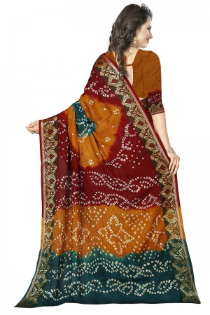 Aesthetic Multi Colour Cotton Silk Bandhani Saree